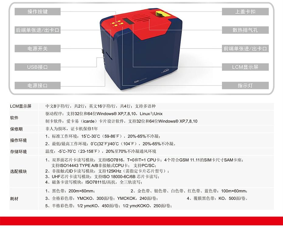 S20飒瑞 证卡打印机 员工卡 会员卡